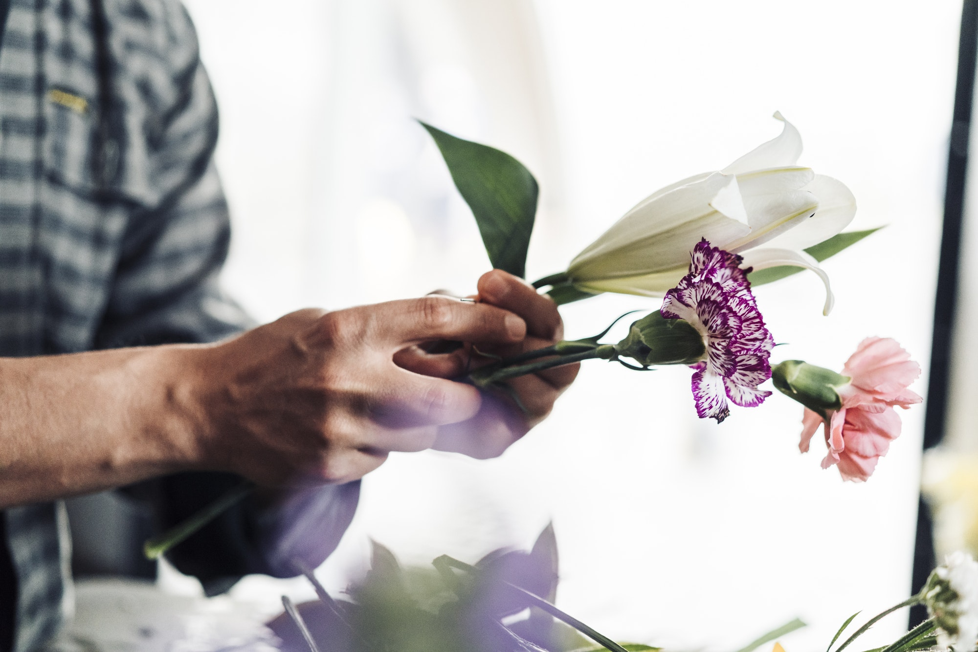 young male florist working in flower shop - ASSIN Brasil
